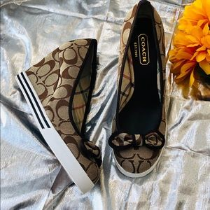 NEW . COACH . Women's Signature Wedge Shoes . 6.5M